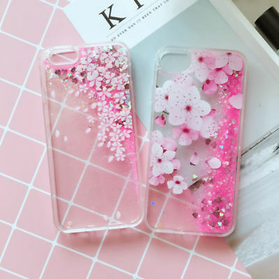 Shockproof Glitter Hearts Liquid Skin Back Case Cover for iPhone X 8 7 6 Plus 5