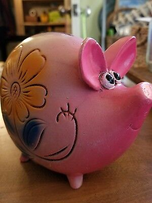 Pink Made in Japan Piggy Bank Vintage with Sweet Face and needs a Plug