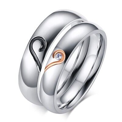 Size 5-12 Stainless Steel Love Heart Wedding Party Men/Women's Couple Ring 4/5mm