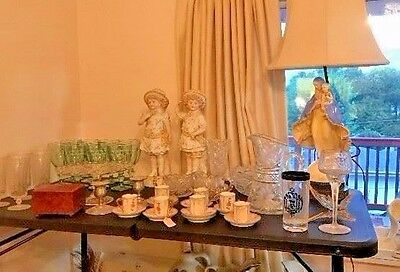 RARE Large Vintage Victorian Porcelain Sisters Set Figurines Beautiful Pinafores