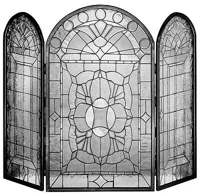 """Victorian Bevel Clear Stained Glass Fireplace Screen 34"""" X 40"""""""