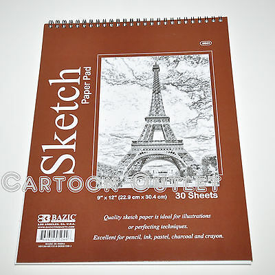 "Quality Sketch Pad Book 12"" X 9"" 30 Sheets Bazic For Pencil Ink Pastel Charcoal"
