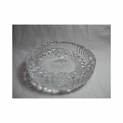 """Vintage Large CUT CRYSTAL ASHTRAY round clear glass 6"""""""