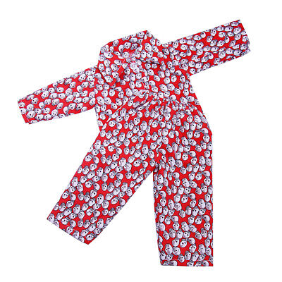 Red Skull Pajamas PJS Nightgown Clothes for 18 inch American Girl AG Doll
