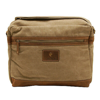 Cactus - Zipped Top Messenger Bag with Laptop/Tablet Sleeve in Khaki Canvas