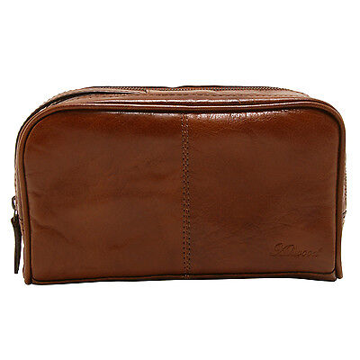 Ashwood - Chestnut Brown Dual Zip Veg Tanned Buffalo Leather Chelsea Wash Bag