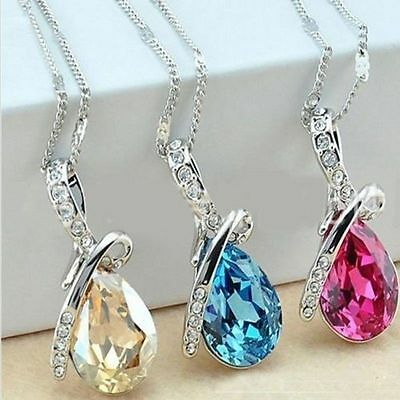 Charm Jewellery Silver Chain Crystal Rhinestone Pendant Necklace Women Girl Gift