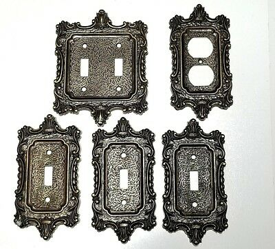 Vtg National Lock Co.Light Switch Wall Plate Ornate Solid Brass Set Made in USA