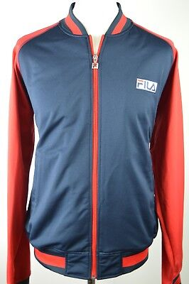 Superb men's Fila navy blue & red zipped tracksuit top large oasis 90s retro