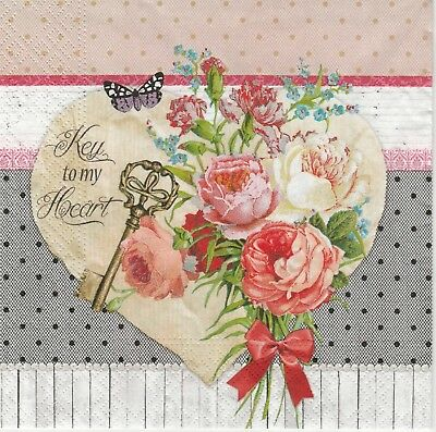 4x Paper Napkins for Decoupage Decopatch Craft Key to my Heart