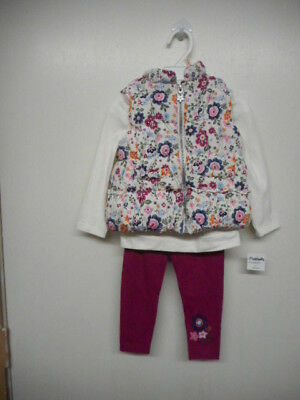 Toddler Girls Flapdoodles Size 2T, 3T & 4T $59 Floral Print Vest 3PC. Set