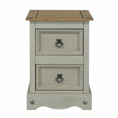 Pair of 2 x Grey Wash Corona 2 Drawer Petite Bedside Table Cabinet Furniture