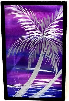 Metal Abstract Modern Purple Wall Art Sculpture by Pete Koza Signed