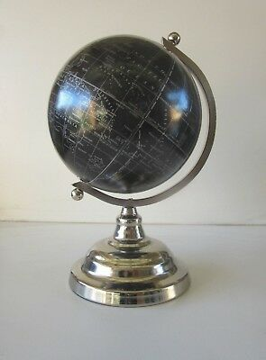 30cm Black World Map Globe Silver Chrome Stand Desktop Educational Geography