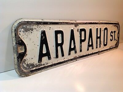 ARAPAHO ST. Retired Antique VTG Embossed Hand Painted Steel Street Road Sign MO