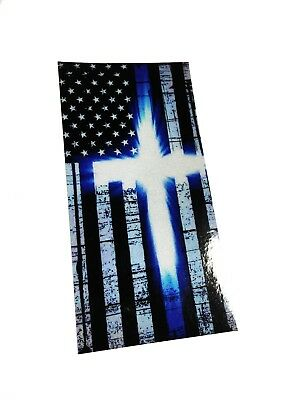 The Reflective Police Thin Blue Line glowing reflective christian cross