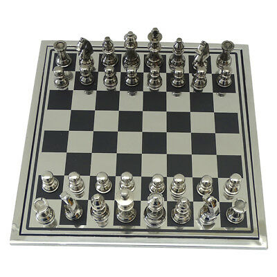 Hewitt Chess Board Game Set 35.5cm Modern Home Decor.Silver Black Timber Nickel