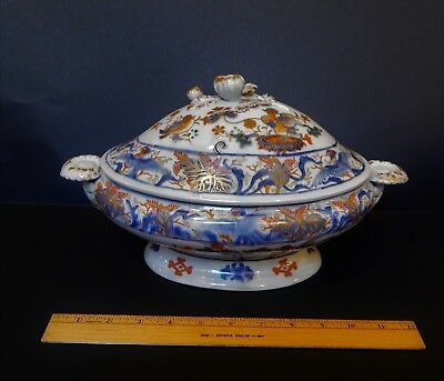Either An Antique Masons Ironstone OR Japanese Imari Large Covered Tureen 19th C