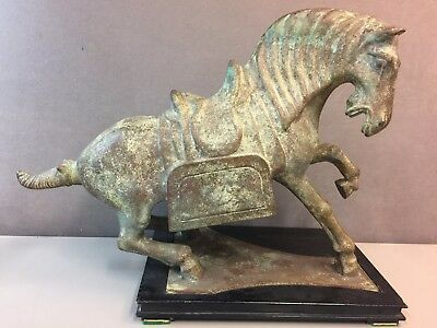 "DRAMATIC VINTAGE Chinese Bronze WAR HORSE Lucky Horse Statue 17"" x 12.5"""