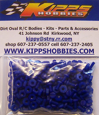 4-40 Blue Nylon Rc Body Fasteners 200 Pcs Dirt Oval Modified Sprint Car Edm Mdm