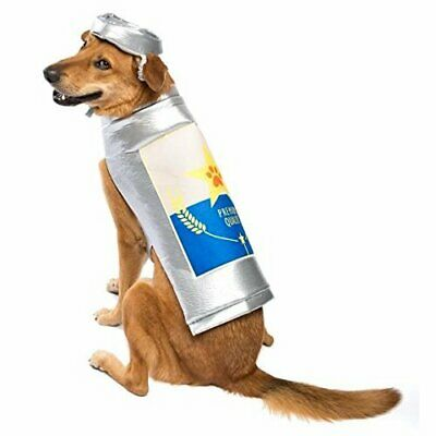 Beer Can Dog Costume - ALL SIZES Adj - Silver - Hat - Plush - Halloween - NWT