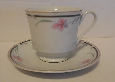 NAPCO Dainty Design Cup and Saucer Set pink flowers black band gold trim