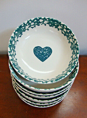 Tienshan Folk Craft Hearts Green Sponge Soup Cereal Bowl  (1 - 6 available)