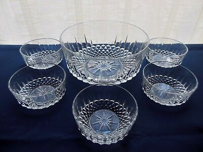 Arcoroc Glass Clear Diamant 6 piece Salad Berry Bowl Set Made in France