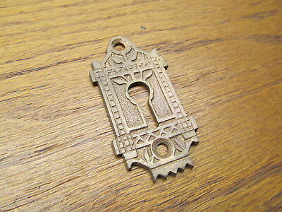 Old Brass ? Bronze ? Eastlake ? Key Hole Cover.. Escutcheon...nice Ornate Detail