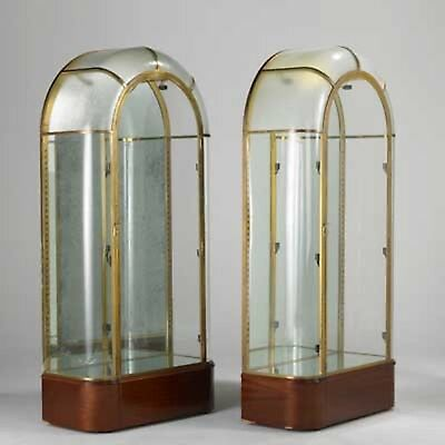 Pair of Original Antique 1920sFrench Art Deco Bronze and Glass Display Cabinets