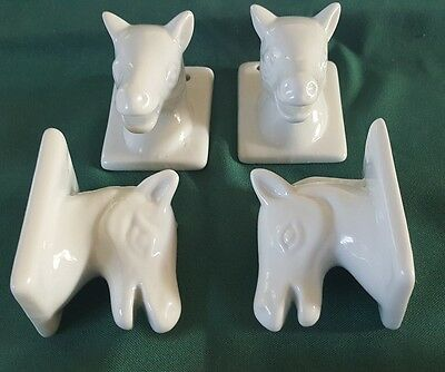 Western Towel Holder Ceramic Horse Heads Vintage Sets of Four