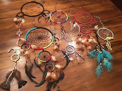 Lot of Dream Catchers Dreamcatcher Various Sizes Colors Wall Hang Lot Of 9