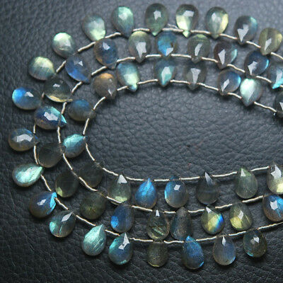 "Natural Labradorite Faceted Pear Drop Briolette Gemstone Beads Strand 8"" 10mm"