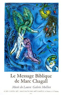 Original Gallery Poster Marc Chagall Le Message Biblique Musee Du Louvre 1967