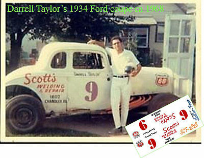 CD_2828 #9 Darrell Taylor   1934 Ford coupe     1:25 scale decals
