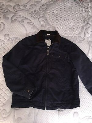 Mens J. Crew Navy Authentic Vintage Style Zipper Jacket, Corduroy Collar, Med