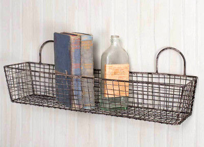 French Bakery Rustic Primitive Wall Hanging Metal Vintage Style Wire Basket