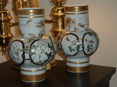 ANTIQUE PAIR OF BULBOUS CHINESE PORCELAIN VASES w FLOWERS & BUTTERFLIES - SIGNED