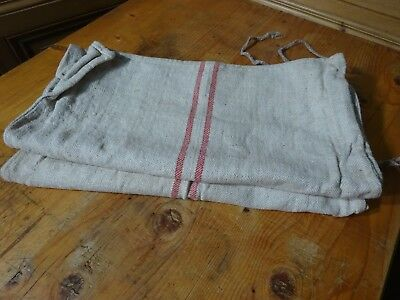 Antique European Feed Sack GRAIN SACK Red Stripe  # 9984