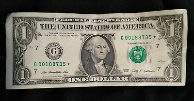 $1 Dollar Bill 2009 Money Fancy Ultra Rare Star Note Low Serial Number 00188735