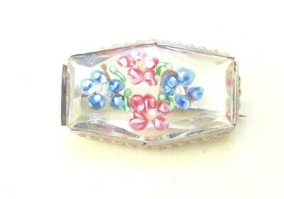 LOVELY VINTAGE MURANO GLASS MILLIFIORE BROOCH w COPPER SWATH AND METAL FRAME
