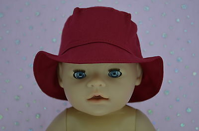"""Play n Wear Doll Clothes To Fit 17"""" Baby Born RED DRILL SUN HAT"""