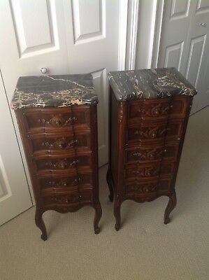 Pair Serpentine Antique French Nightstand Handkerchief/Lingerie Chest Marble Top
