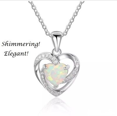 Women 925 Sterling Silver Opal Heart Pendant Necklace Chain Jewelry Gift Box
