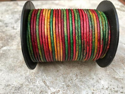Orange Metallic Round Leather Cord 1.5mm 25 meters 27.34 yards