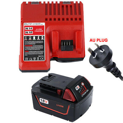 Charger+Battery 18V 4.0Ah Red Lithium Ion XC 4.0 For Milwaukee M18 48-11-1828