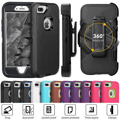 High Impact Hybrid Shockproof Cover Case For iPhone 6 7 8 +, Fits Otterbox Clip