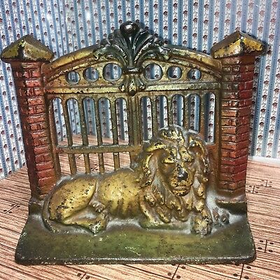 """Antique Painted Cast Iron Lions Gate Bookends Fence 5-6"""" Metal Old Vintage #17"""