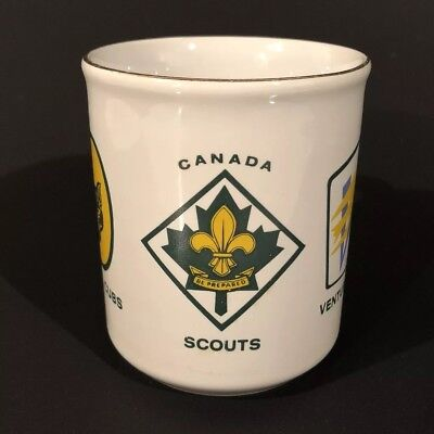 Vtg Boy Scouts Canada Coffee Mug Venturers Wolf Cubs Beavers Rovers Club Cup