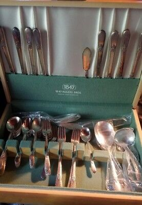 1847 Rogers Bros. ADORATION Silverplate Silverware Flatware 52 piece lot vintage